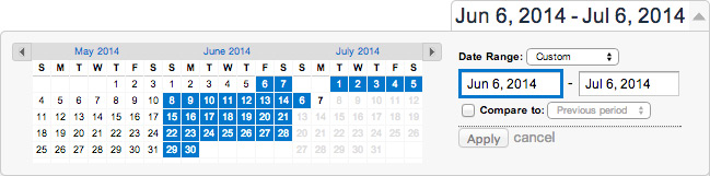 The date range selection tool in Google Analytics is a typical UI design pattern.
